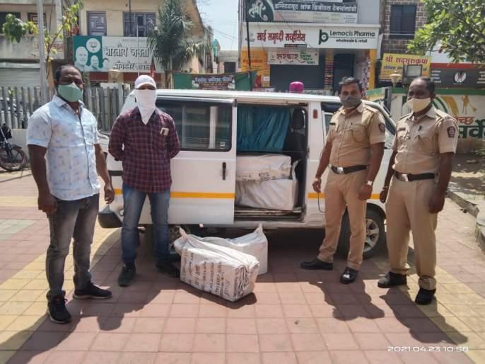 transport of native liquor by ambulance in sangamner | संगमनेरात धक्कादायक प्रकार, रुग्णवाहिकेतून देशी दारुची वाहतूक