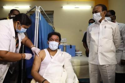 MoS Kishan Reddy receives Covid vax | MoS Kishan Reddy receives Covid vax
