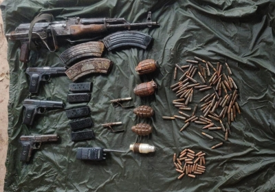 Huge cache of arms recovered from J&K's Reasi   Huge cache of arms recovered from J&K's Reasi