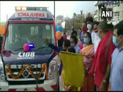 67 new ambulances flagged off in Andhra's Visakhapatnam | 67 new ambulances flagged off in Andhra's Visakhapatnam