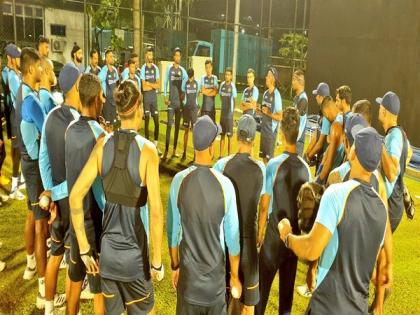 Ind vs SL: Dhawan-led squad's first practice session under lights   Ind vs SL: Dhawan-led squad's first practice session under lights
