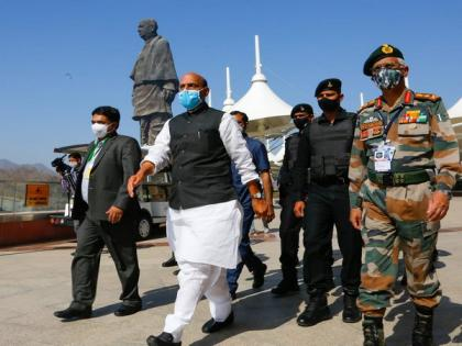 Rajnath Singh commences his two-day visit to Gujarat, visits Statue of Unity   Rajnath Singh commences his two-day visit to Gujarat, visits Statue of Unity