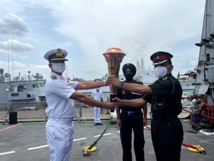 INS Sumedha embarks on with Swarnim Vijay Varsh celebrations to Port Blair | INS Sumedha embarks on with Swarnim Vijay Varsh celebrations to Port Blair