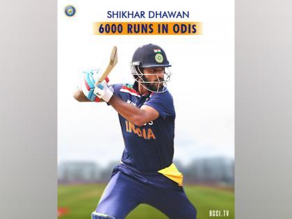 Dhawan becomes 10th Indian batsman to score 6000 ODI runs   Dhawan becomes 10th Indian batsman to score 6000 ODI runs