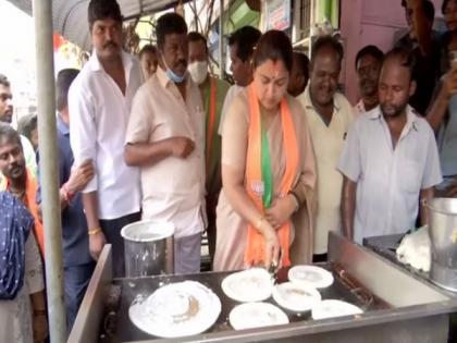 TN Assembly elections: Khushbu Sundar cooks dosas as part of campaign   TN Assembly elections: Khushbu Sundar cooks dosas as part of campaign
