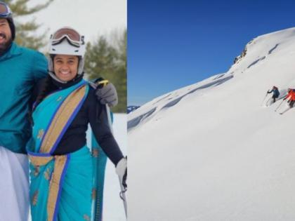 US based couple go skiing wearing saree and dhoti, video goes viral! | US based couple go skiing wearing saree and dhoti, video goes viral!