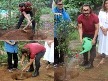 Photos: व्हिसलिंग वुड्स इंटरनेशनल के दौरान आमिर खान ने की प्लांटिंग