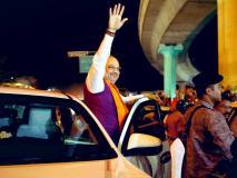 बेंगलुरू दक्षिण से बीजेपी उम्मीदवार तेजस्वी सूर्या के लिए अमित शाह ने किया रोड शो