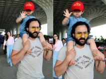 घोड़े की सवारी के बाद तैमूर ने की पापा सैफ की सवारी एअरपोर्ट पर हुए स्पॉट, देखें तस्वीरें...