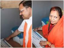बीजेपी उम्मीदवार और पत्नी की मतदान केंद्र के भीतर की तस्वीरें वायरल, चुनाव नियमों के उल्लंघन का आरोप