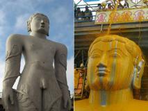 श्रवणबेलगोला में गोटमेश्वर बाहुबली की प्रतिमा का केसर से हुआ महामस्तकाभिषेक, देखें तस्वीरें