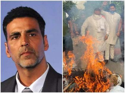 Controversy on Akshay Kumar Prithviraj Kshatriya Mahasabha burnt effigies of actor and Chandraprakash Dwivedi | 'पृथ्वीराज' पर विवादः क्षत्रिय महासभा ने अक्षय कुमार और चंद्रप्रकाश द्विवेदी का फूंका पुतला, फिल्म रिलीज से पहले रखी ये मांग
