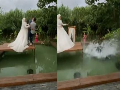 wedding video of bride doing prank with groom and photographer goes viral | दूल्हा-दुल्हन का चल रहा था फोटोशूट, तभी ब्राइड ने किया ऐसा कि लोग हो गए पानी-पानी, वीडियो वायरल