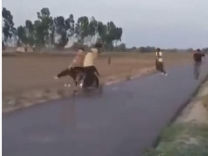 boys playing cricket on road then what happened watch video funny video | सड़क पर क्रिकेट खेल रहे थे बच्चे, तभी आ गए दो बाइक सवार, फिर हुआ कुछ ऐसा हो गई भिड़ंत, वीडियो वायरल