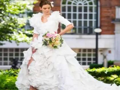 British fashion designer Tom Silverwood has designed a very beautiful bride dress from 1500 masks | ब्रिटेन के फैशन डिजाइनर टॉम सिल्वरवुड ने 1500 फेंके मास्क तैयार किया बेहद खूबसूरत दूल्हन का लिबास