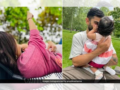Virat Kohli, and Anushka Sharma were seen enjoying a family picnic on the completion of 6 months of daughter Vamika   विराट कोहली और अनुष्का शर्मा की बेटी 6 महीने की हुई, कपल ने शेयर की वामिका की पहली झलक