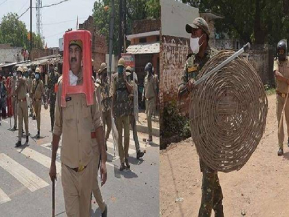 Uttar Pradesh police use stool and basket to control riot four suspended   अजब पुलिस का गजब तमाशा! पथराव से बचने के लिए पुलिसकर्मियों ने पहन ली स्टूल और टोकरी, किरकिरी हुई तो लिया एक्शन