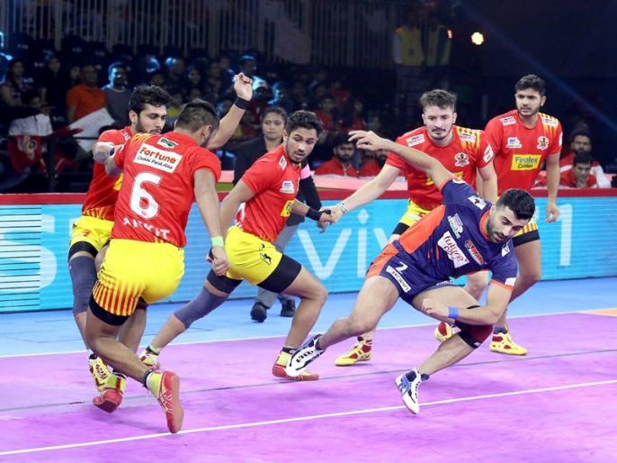 Pro Kabaddi 2019: Haryana Steelers Beat UP Yoddha and Bengal Warriors Beat Gujarat Fortunegiants wins their match | Pro Kabaddi 2019: रोमांचक मैच में बंगाल ने गुजरात को हराया, हरियाणा ने लगाई जीत की हैट्रिक