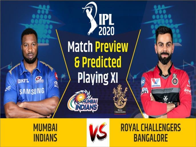 IPL 2020, Mumbai Indians vs Royal Challengers Bangalore, Match Preview & Dream11: | IPL 2020, MI vs RCB, Match Preview & Dream11: प्लेऑफ में जगह पक्की करना दोनों टीमों का लक्ष्य, रोहित शर्मा का खेलना संदिग्ध