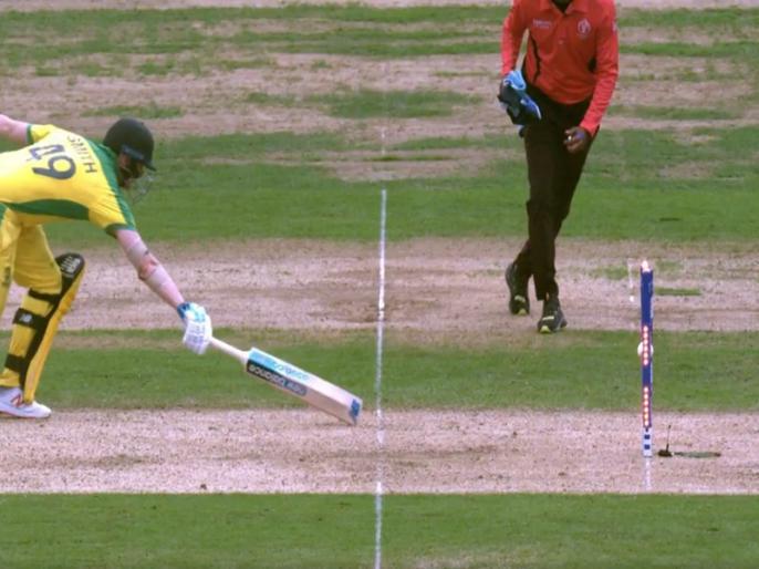 ICC World Cup 2019: Watch England star Jos Buttler's sensational run-out of Steve Smith | VIDEO: टांगों के बीच से निकलकर स्टंप्स से टकराई गेंद, इस तरह रन आउट हुए स्टीव स्मिथ
