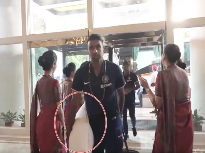 India vs Bangladesh: Fans troll Ravichandran Ashwin on reaching the hotel with a pillow   IND vs BAN: तकिया लेकर होटल पहुंचे रविचंद्रन अश्विन, ट्रोलर्स बोले- आराम करने आए हो