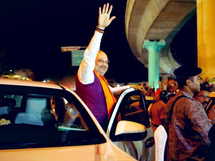 Bangalore south candidate Tejaswi Surya was followed by Amit shah in a road show | बेंगलुरू दक्षिण से बीजेपी उम्मीदवार तेजस्वी सूर्या के लिए अमित शाह ने किया रोड शो