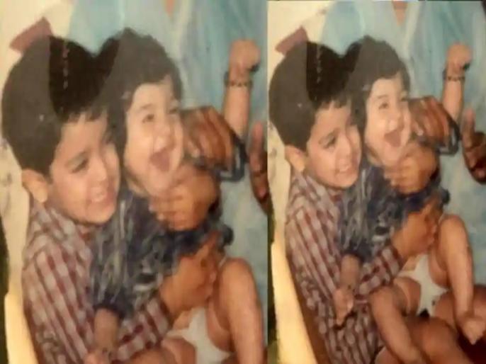 Anushka Sharma screams with joy in brother Karnesh Sharma lap see their childhood photo | जब भाई कारनेश की गोद में खिलखिलाकर हंसती हुई नजर आईं अनुष्का शर्मा, सोशल मीडिया पर वायरल हुई बचपन की तस्वीर