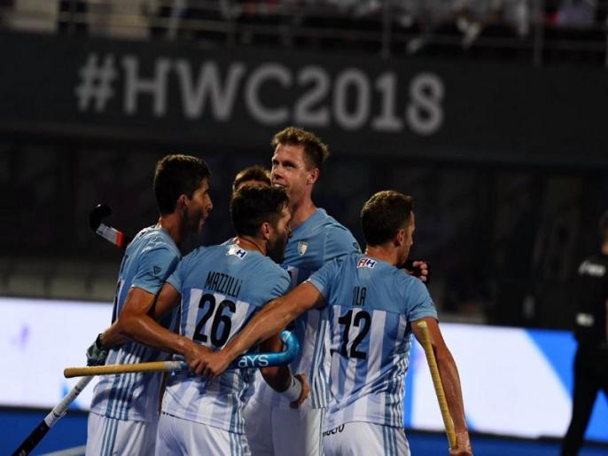 Hockey World Cup 2018: Argentina registers 4-3 win over Spain   Hockey World Cup: ओलंपिक चैंपियन अर्जेंटीना ने स्पेन को 4-3 से हराया, न्यूजीलैंड फ्रांस से मुश्किल से जीता