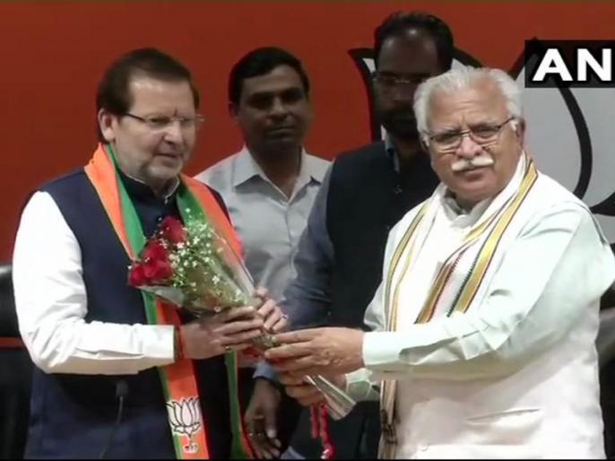 Lok sabha election 2019: Former Congress MP Arvind Sharma joins BJP from Haryana presence CM Manohar Lal Khattar | लोकसभा चुनाव 2019: हरियाणा में कांग्रेस को लगा बड़ा झटका, पूर्व सांसद अरविंद शर्मा बीजेपी में हुए शामिल