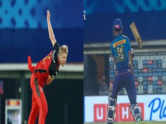 Mumbai vs Bangalore Krunal Pandya bat broken by Kyle Jamieson thunderbolt yorker   काइल जैमीसन ने फेंकी इतनी तेज गेंद कि टूट गया क्रुणाल पंड्या का बल्ला, मैदान पर ये नजारा देख विराट कोहली-रोहित शर्मा भी रह गए हैरान