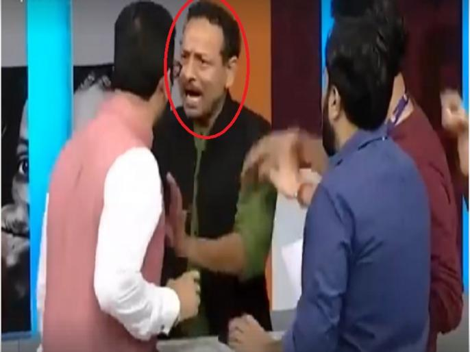 SP leader Anurag Bhadoria and bjp Gaurav Bhatia fight on live tv show, video viral   लाइव टीवी शो के दौरान सपा और बीजेपी प्रवक्ता के मारपीट का वीडियो आया सामने, देखें, कैसे एंकर भी हो गया था हैरान