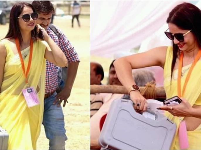 who is woman polling officer in yellow saree photo viral 100 percent voting | जानिए कौन है पीली साड़ी वाली महिला पोलिंग ऑफिसर, क्या है वायरल फोटो का सच