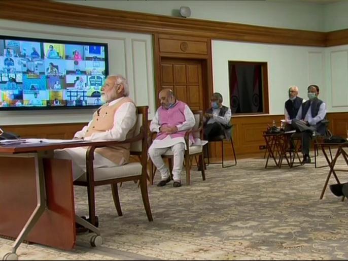 PM Narendra Modi Meeting with Union Council of Ministers via video conference, Amit Shah and Rajnath Singh also present | कोरोना: PM नरेंद्र मोदी ने केंद्रीय मंत्रिपरिषद के साथ वीडियो कॉन्फ्रेंस के जरिए की बैठक, अमित शाह और राजनाथ सिंह भी मौजूद