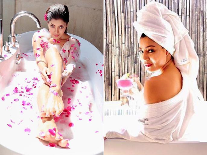 Television actress Debina Bonnerjee's bathtub pics are too hot to handle! |  english.lokmat.com