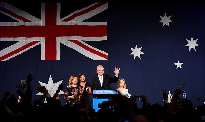 Australian PM Scott Morrison claims historic win after Labor loses 'unlosable' election. | ऑस्ट्रेलिया पीएमस्कॉट मॉरिसन नेचुनावों में ''चमत्कारिक'' रूप से वापसी की,एग्जिट पोल्सको गलत साबित किया, चुनाव जीते