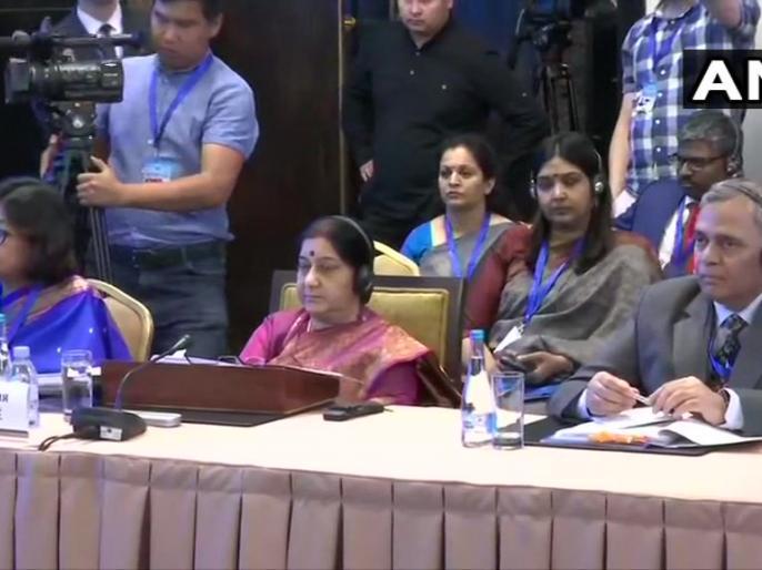 External Affairs Minister, Sushma Swaraj at the meeting of Council of Foreign Ministers (CFM) of Shanghai Cooperation Organisation in Bishkek, Kyrgyzstan. | स्वराज ने कहा, हमारी संवेदनाएं भीषण आतंकी कृत्य के गवाह बने श्रीलंका के हमारे लोगों के साथ हैं, पुलवामा से मिले जख्म अभी हरे है