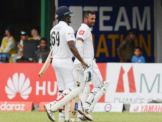 Dimuth Karunaratne Helps Sri Lanka To 85-2 On Rain-Hit First Day against New Zealand   SL vs NZ: दिमुथ करुणारत्ने ने वर्षा प्रभावित पहले दिन न्यूजीलैंड के खिलाफ श्रीलंका को संभाला