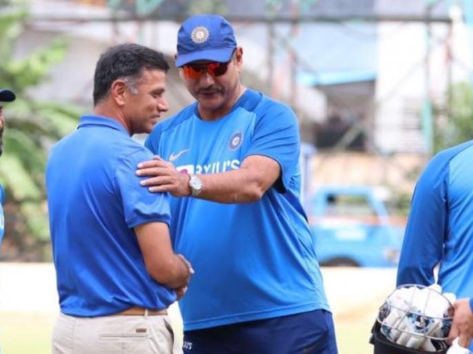 BCCI shares Rahul Dravid pic with Ravi Shastri, indian coach gets trolled | BCCI ने राहुल द्रविड़ के साथ शेयर की रवि शास्त्री की तस्वीर, लोगों ने कर दिया शास्त्री को जमकर ट्रोल