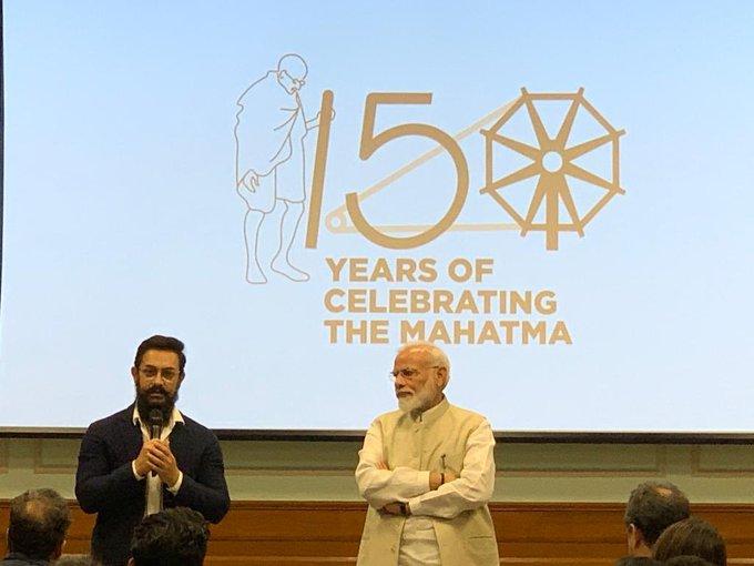 Mahatma Gandhi 150th birth anniversary Aamir khan shahrukh creative and entertainment members meet pm modi | महात्मा गांधी 150वीं जयंती: आमिर, शाहरुख समेत कई बड़ी हस्तियों से रूबरू हुए PM मोदी, बापू के आदर्शों को लेकर की ये अपील