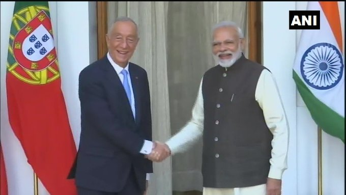Delhi: Portuguese President Marcelo Rebelo De Sousa meets Prime Minister Narendra Modi. | पुर्तगालीराष्ट्रपतिसूसा से मिले पीएम मोदी,कारोबार, शिक्षा, निवेश सहित कई मुद्दे पर चर्चा