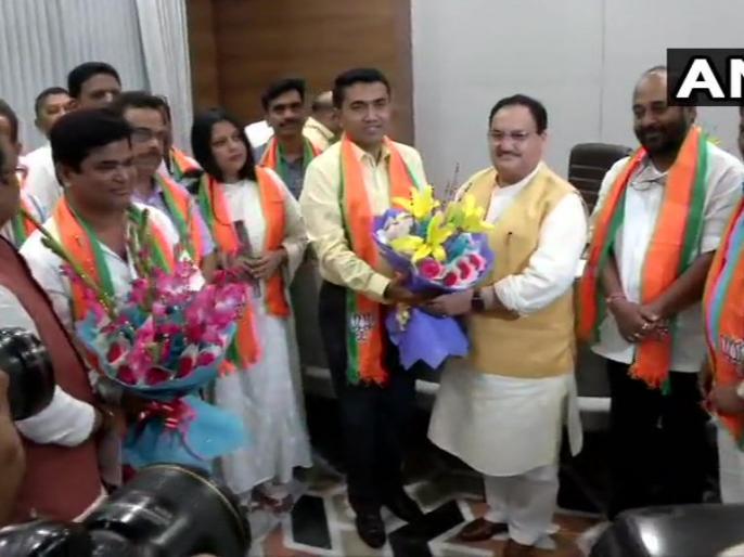 10 Congress MLAs from Goa join BJP in presence of BJP Working President JP Nadda | गोवा: जेपी नड्डा और सीएम प्रमोद सावंत की मौजूदगी में कांग्रेस के 10 बागी विधायक बीजेपी में शामिल