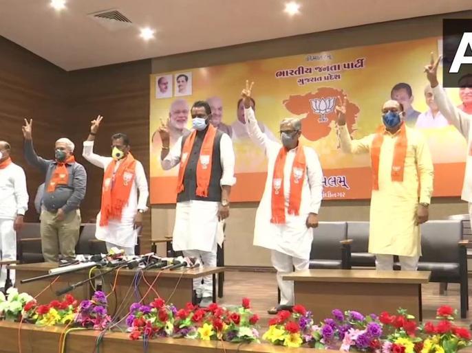 Gujarat: 5 MLAs who resign from Congress before Rajya Sabha elections join BJP | गुजरात: राज्यसभा चुनाव से पहले कांग्रेस से इस्तीफा देने वाले 5 विधायक BJP में शामिल