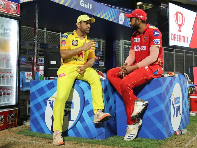 IPL 2021 csk captain ms dhoni tips pbks cricketer m shahrukh khan kl rahul photo viral | IPL 2021: मैच के बाद गुरु धोनी से मिलेतमिलनाडु के 'पावर हिटर' शाहरुख खान, फोटो वायरल