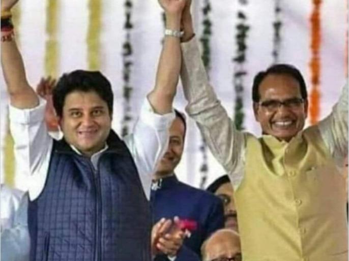 Madhya pradesh election 2020 bjp congress kamalnathJyotiraditya Scindia digital chariotresolution letter | एमपी उपचुनावः कांग्रेस ने बोलाज्योतिरादित्य पर हमला, कहा-भाजपा ने दूल्हा बताकर सिंधिया को बाराती बनाने से किया इंकार