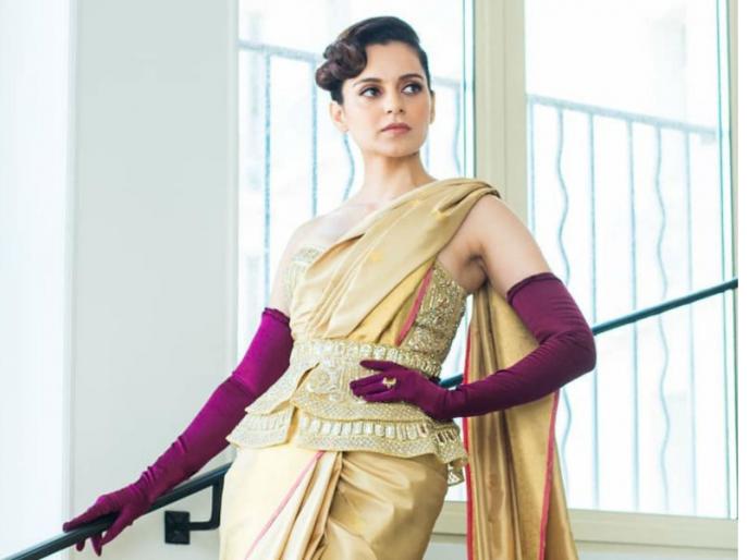 kanagana ranaut look from cannes 2019 | Cannes Film Festival 2019: कंगना रनौत ने कान फेस्टिवल में स्टाइलिश साड़ी में लूट ली महफिल, भारतीय संस्कृति को किया फॉलो