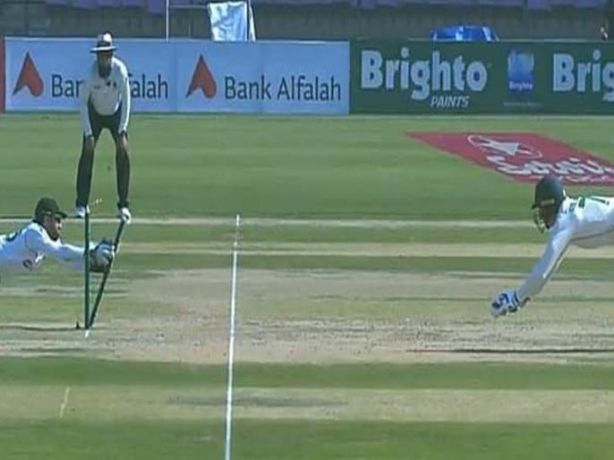 Pakistan Mohammad Rizwan Pulls off a Stunning Diving run out video viral   बीच मैदान यह पाकिस्तानी खिलाड़ी बना 'सुपरमैन', हवा में उड़कर किया कुछ ऐसा कि हर कोई रह गया हैरान