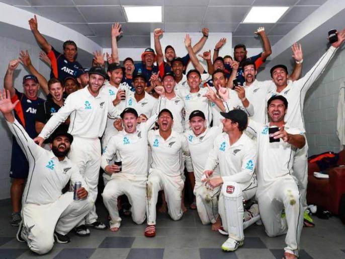 New Zealand cricketers showcases bhangra moves after thrilling win over Pakistan in Abu Dhabi test | पाकिस्तान पर रोमांचक टेस्ट जीत के बाद झूमे न्यूजीलैंड के खिलाड़ी, 'भांगड़ा' करने का वीडियो हुआ वायरल