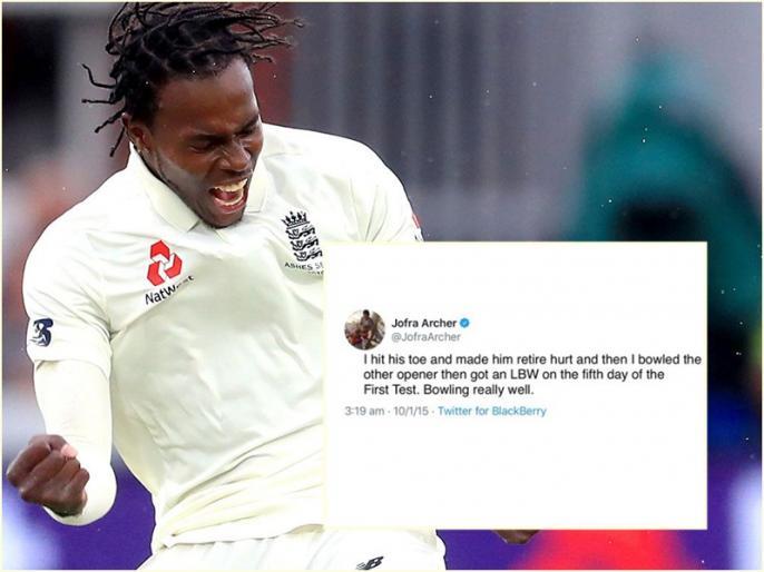 England vs West Indies, 1st Test: I hit his toe and made him retire hurt, Jofra Archer tweet goes viral   ENG vs WI, 1st Test, Day 5: जोफ्रा आर्चर पहले ही कर चुके थे बल्लेबाज को घायल करने का ऐलान, ट्वीट हुआ वायरल!