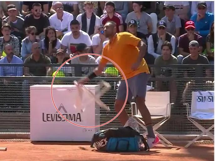 Nick Kyrgios Smashes Racquet, Throws Chair Before Storming Off Court   इटली ओपन: मैच के दौरान भड़के निक किर्गियोस, उठा कर फेंक दी कुर्सी, देखें VIDEO