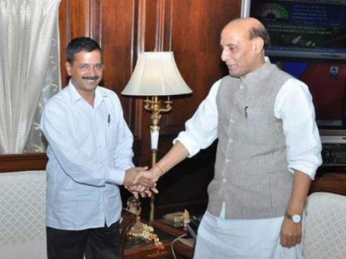 bureaucratic control in delhi arvind kejriwal meets rajnath singh | दिल्ली: अरविंद केजरीवाल से मिले राजनाथ सिंह, विवाद में उलझी बैठक